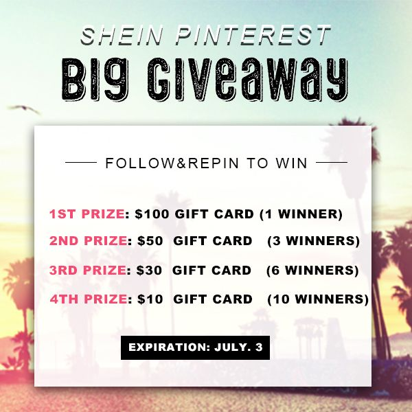 >>SheIn Pinterest Big Giveaway<<      ==>> http://goo.gl/mcxKLK       (1) Follow SheIn on pinterest:  https://www.pinterest.com/SheIn_Official/   (2) Repin our product images as many times  as you can.                                      (3) Send a mail with your repin links and  your pinterest account to social@shein.com. 20 winners will be picked randomly from  those who send most repin links.