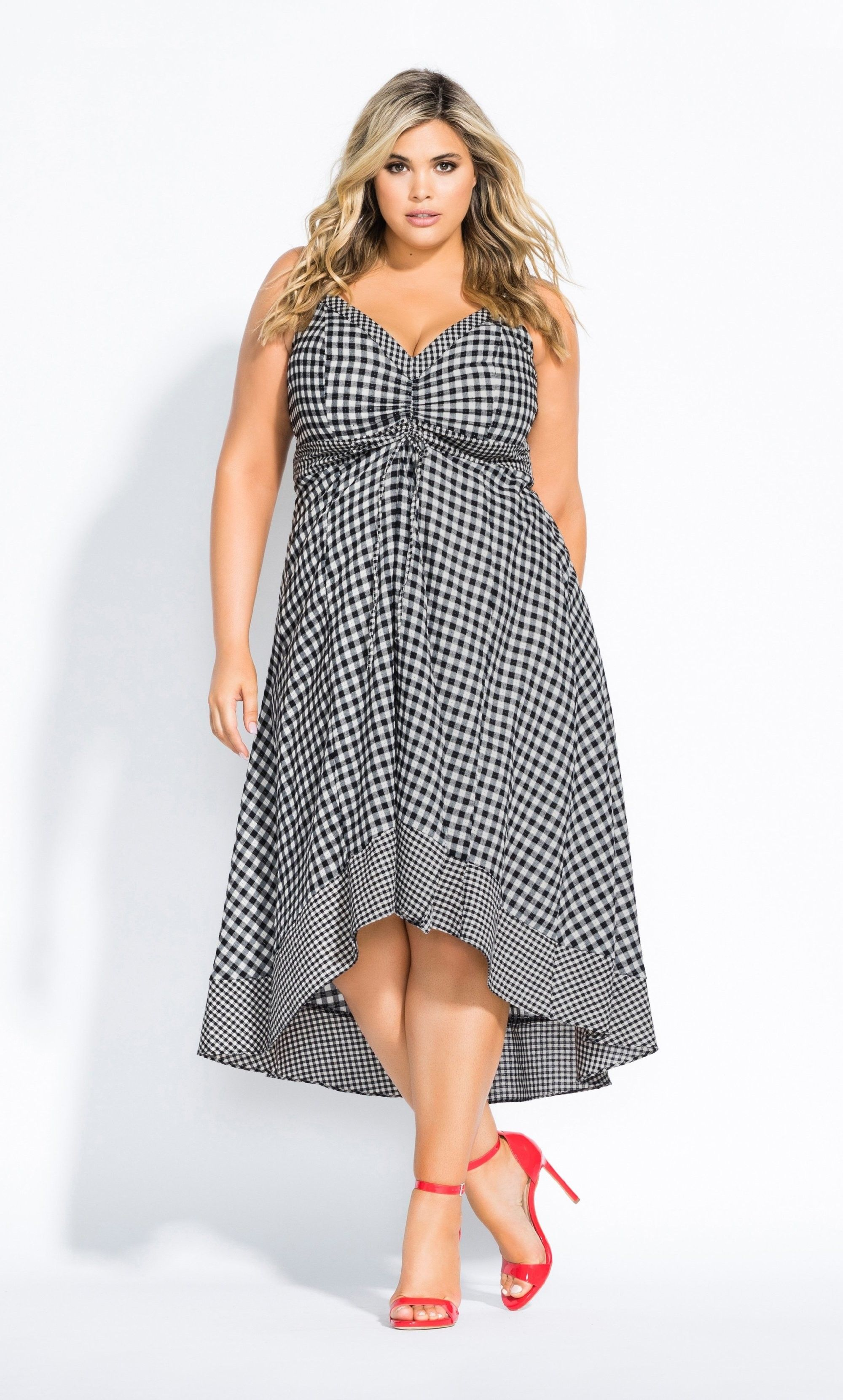 Gingham Darlin Dress Black Dresses Fashion City Chic Outfit [ 3319 x 2000 Pixel ]