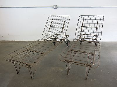 Homecrest Chaise Lounge Chair Set Of 2 Wrought Iron Mid Century