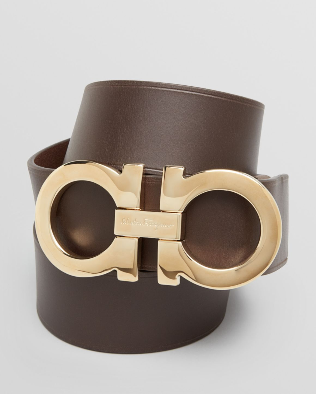 Salvatore Ferragamo Leather Double Gancini Power Buckle Belt