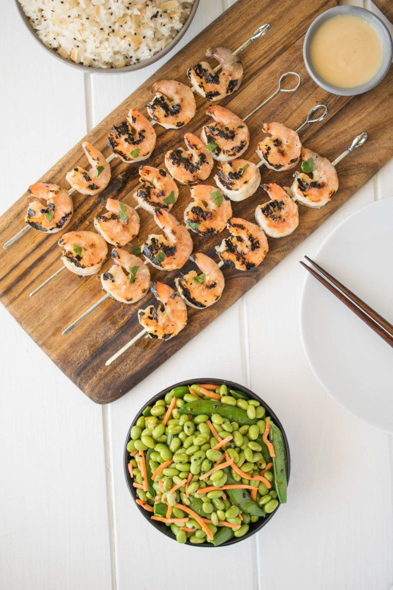 Grilled Miso Shrimp Recipe Sesame Ginger Dressing Snap Pea Salad Snap Peas