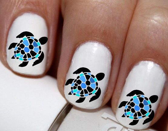 20 Pc Sea Turtles Nail Art Nail Decals Nail Stickers Lowest Price On Etsy Cg1707na Turtle Nails Turtle Nail Art Beach Nail Designs