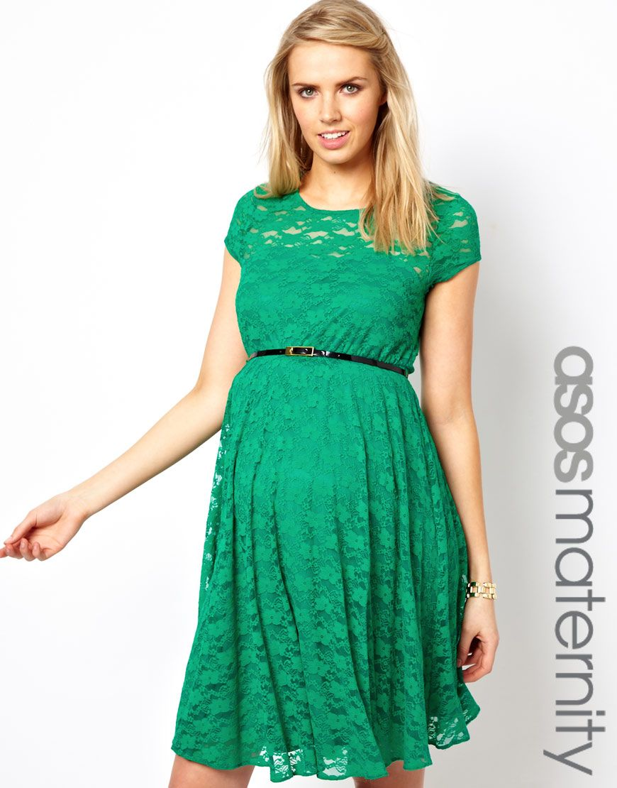 486a3b41c1b73 ASOS Maternity Lace Skater Dress With Belt | Modern Modesty ...