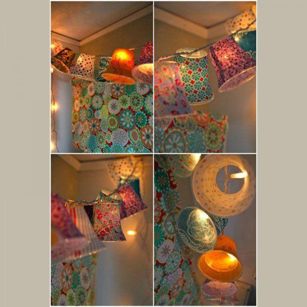 des lanternes et guirlandes faites main pour une maison illumin e pots de yaourt guirlandes. Black Bedroom Furniture Sets. Home Design Ideas