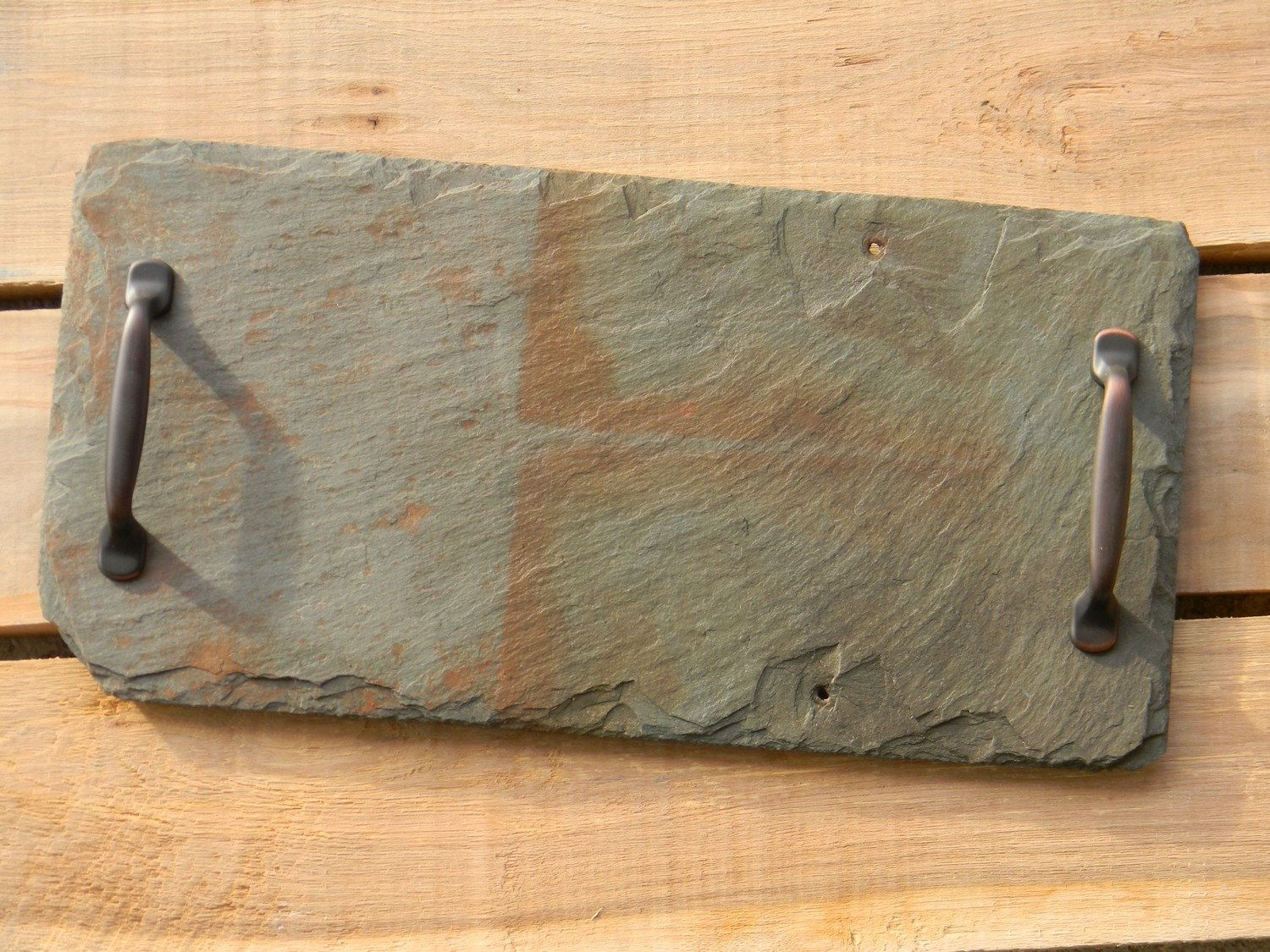 Handmade Slate Cheese Board Tray Board With Reclaimed Ohio Homestead Slate Tile With Bronze Hardware By Cheese Boards Tray Slate Cheese Board Slate Tile Crafts