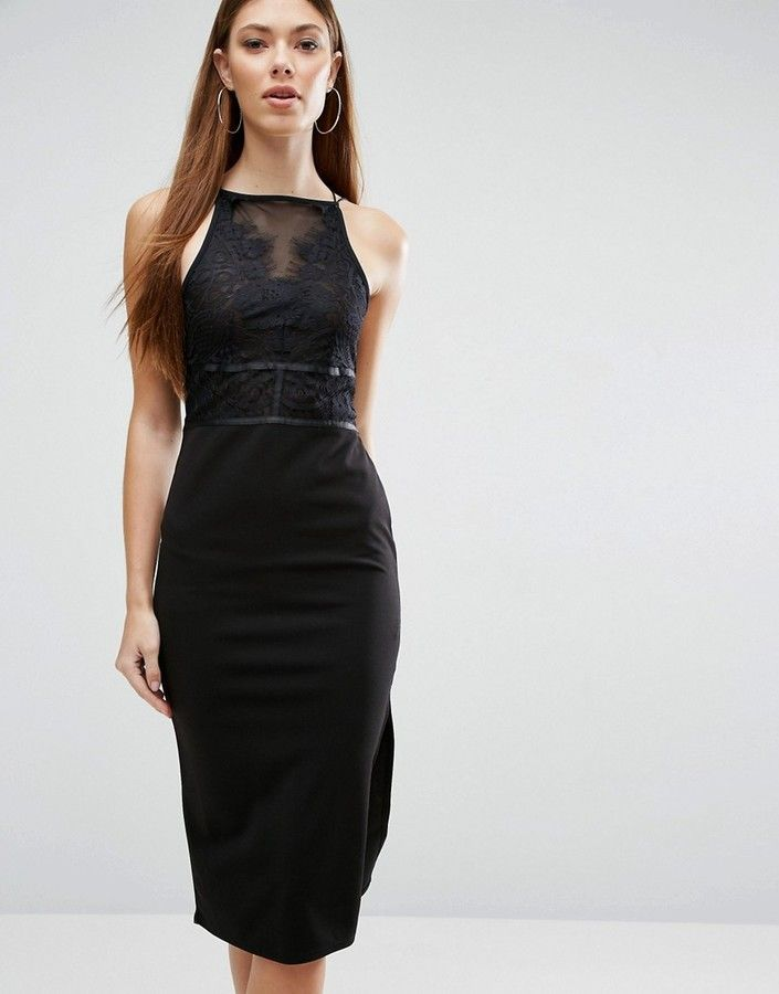 Asos Lace Top Scuba Skirt Midi Dress With Strapping Detail Scubas