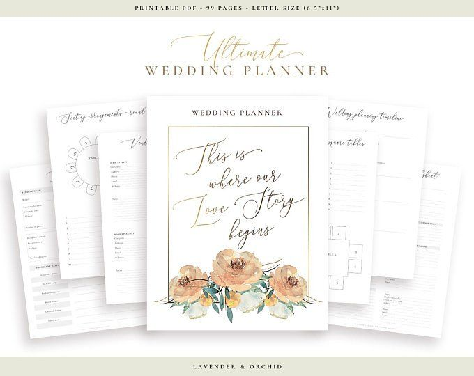 ultimate wedding planner printable wedding planner digital