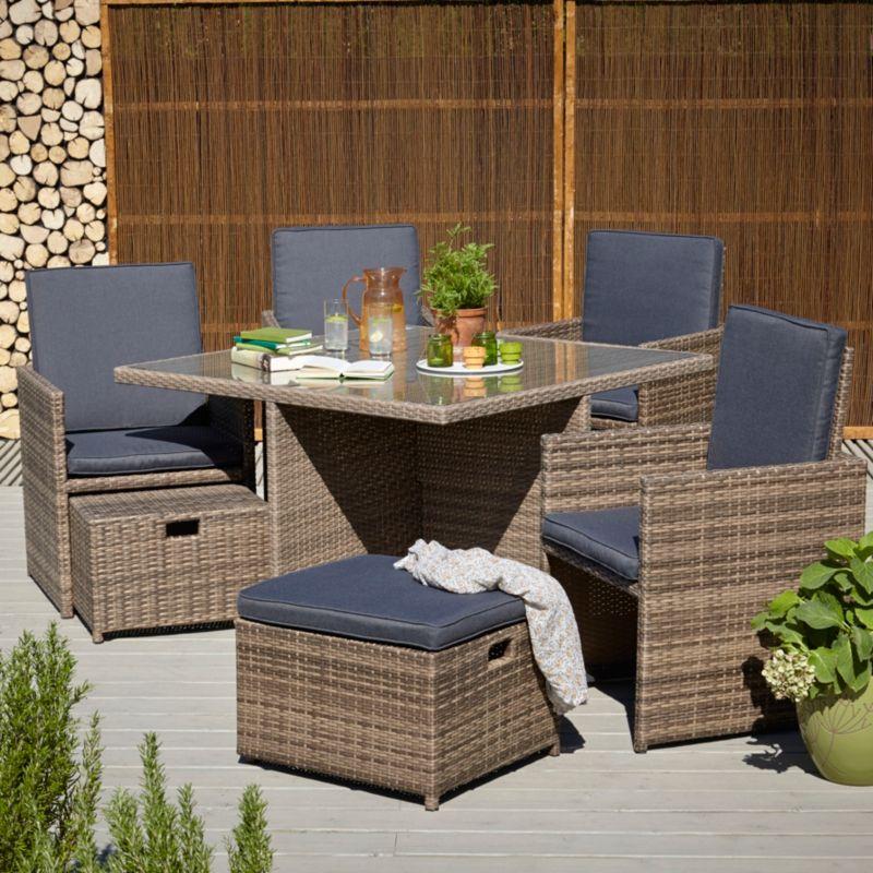 Borneo 9 Piece Cube Dining Set Outdoor Garden George Outdoor Garden Furniture Outdoor Furniture Sets Dining Set