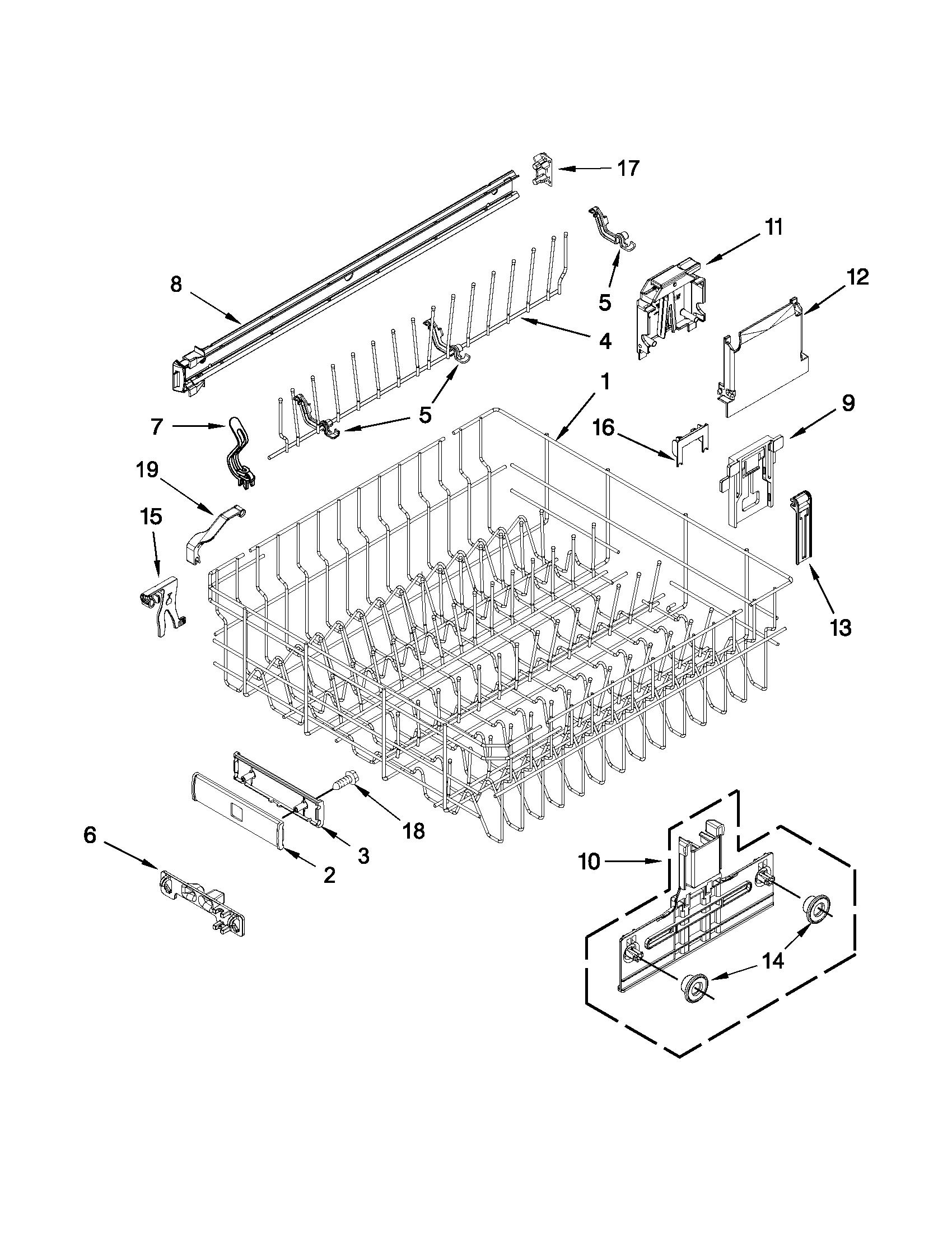 kenmore elite dishwasher model 66512769k310 upper rack and track parts diagram [ 1700 x 2201 Pixel ]