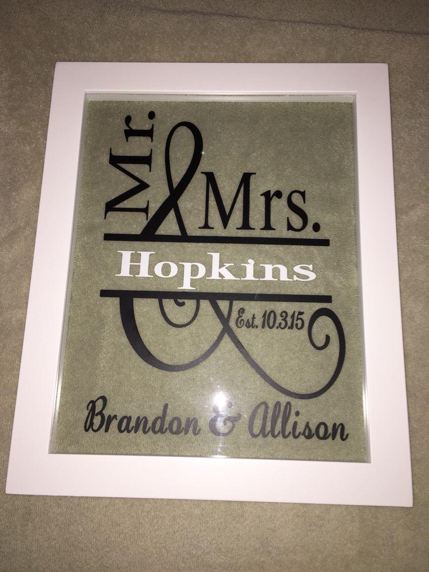 Vinyl Wedding Gift   Floating Frame
