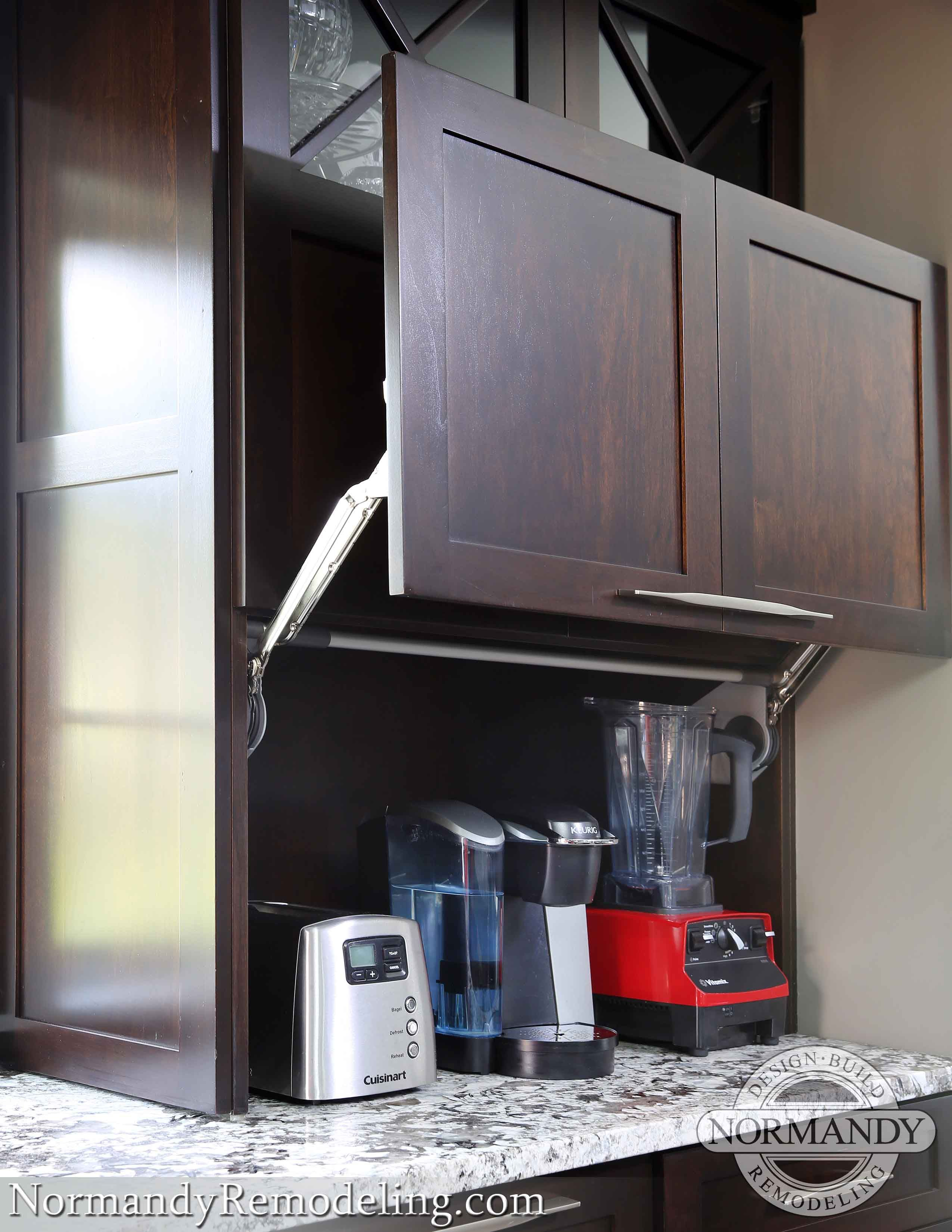 pop-up appliance garage shaker door dark stained kitchen | kitchen ...