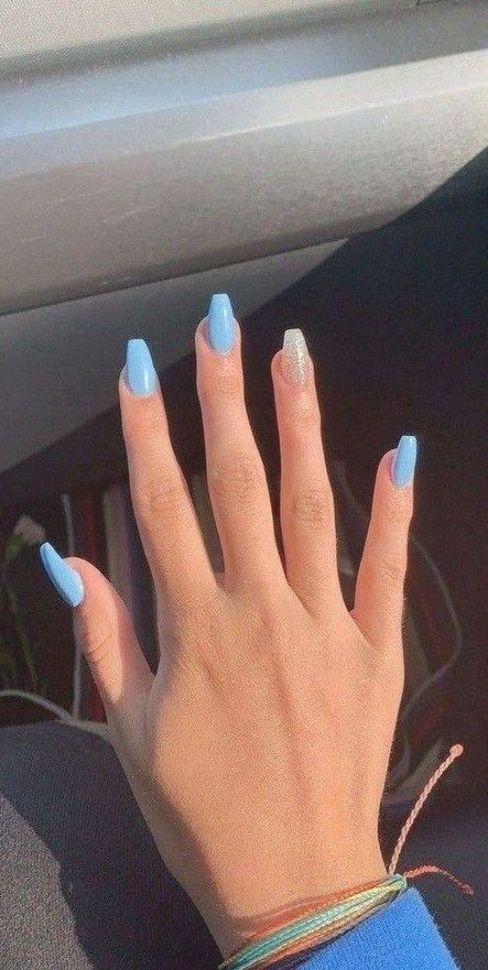 50+ Minimal Blue Nail Art Design for Winter 2019 #nailart #nailartdesign #winter…