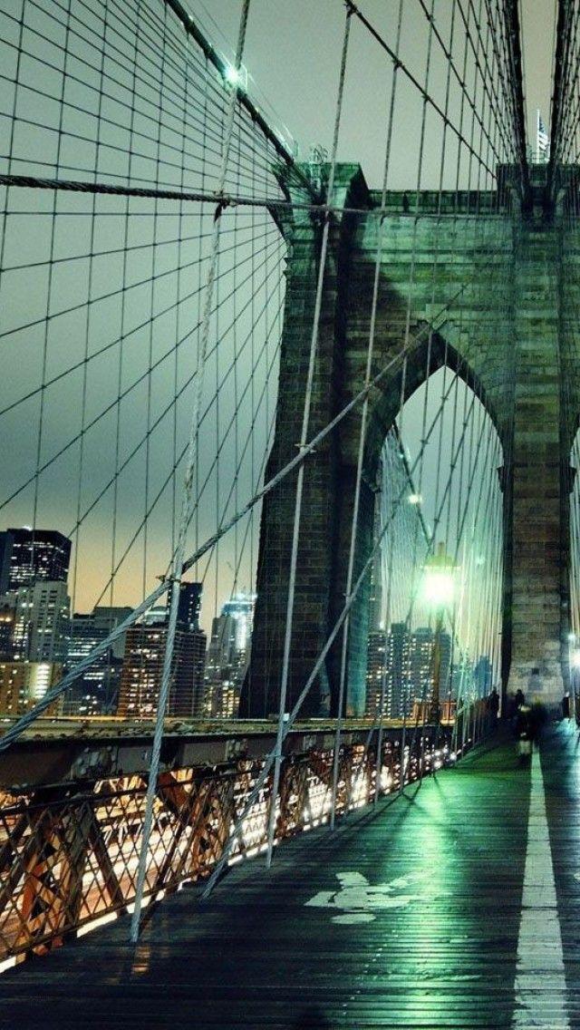 Brooklyn Bridge Night New York Usa Iphone Backgrounds Brooklyn Bridge New York Places To Travel