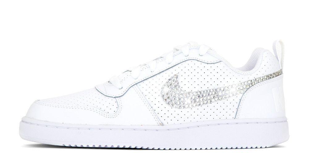Nike Court Borough Low - Hand Customized Crystallized Swarovski Swoosh - White