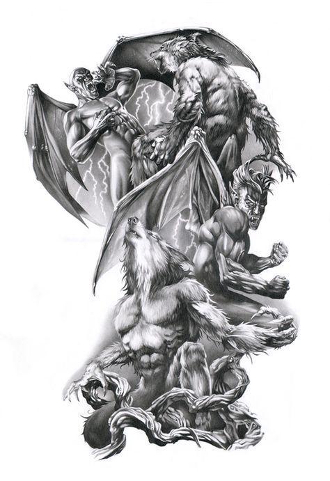 vampire werewolf tattoo realism pinterest tattoos tattoo designs and werewolf tattoo. Black Bedroom Furniture Sets. Home Design Ideas