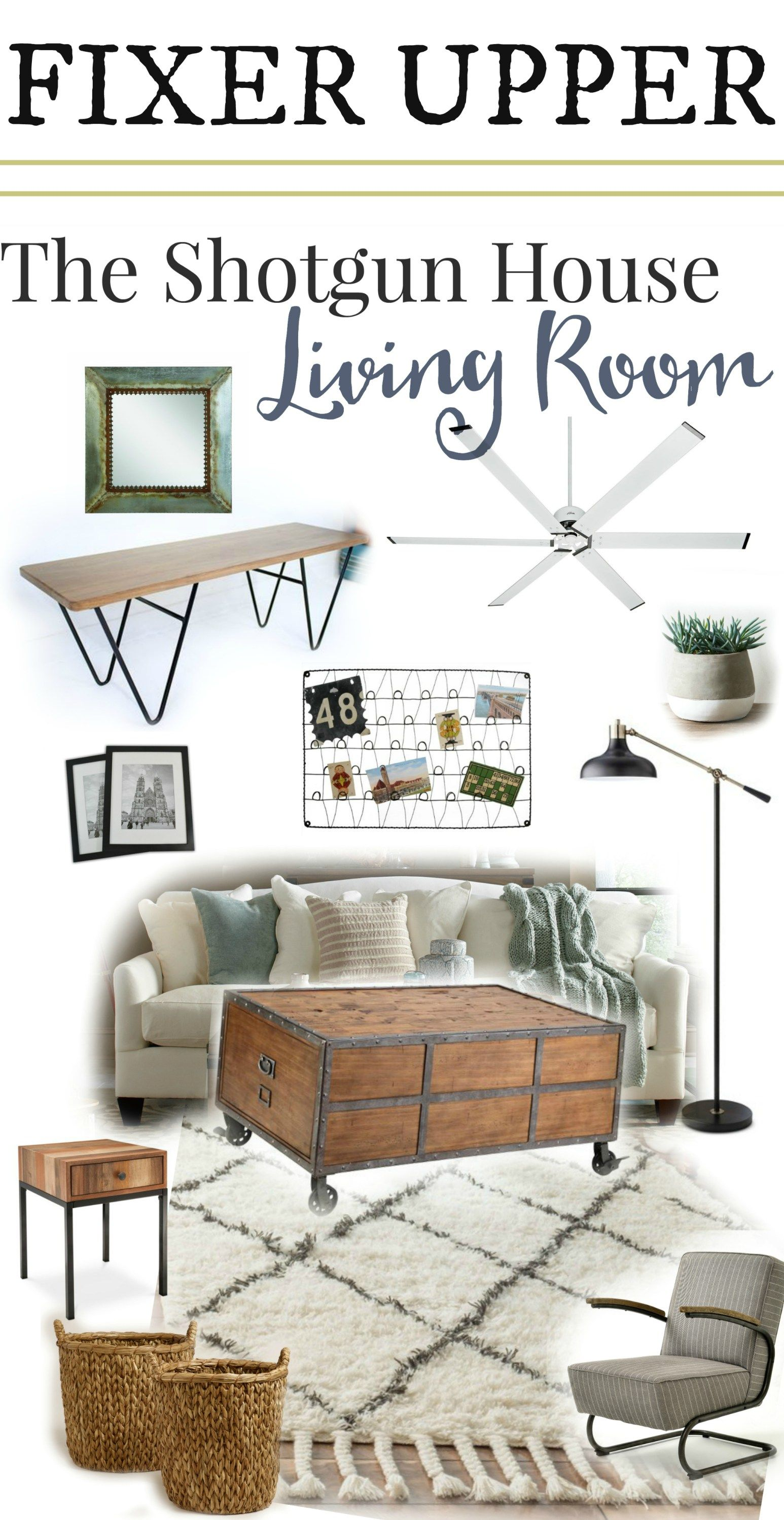 List Of Living Room Furniture. Fixer Upper The Shotgun House Living Room  most complete source list of products used Get the Look house Industrial
