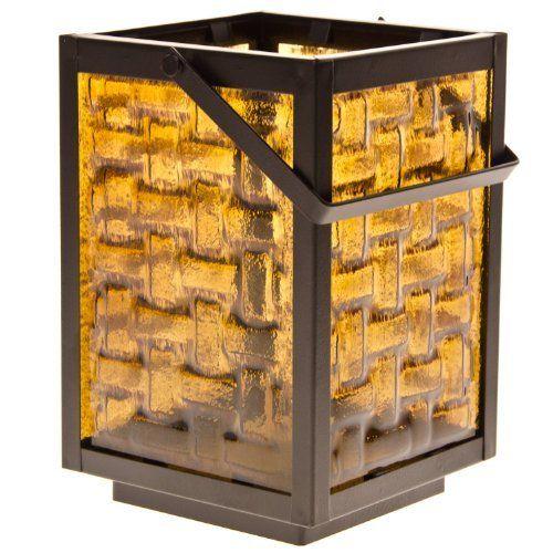 Brown Metal & Glass Lantern (Cracker Barrel)