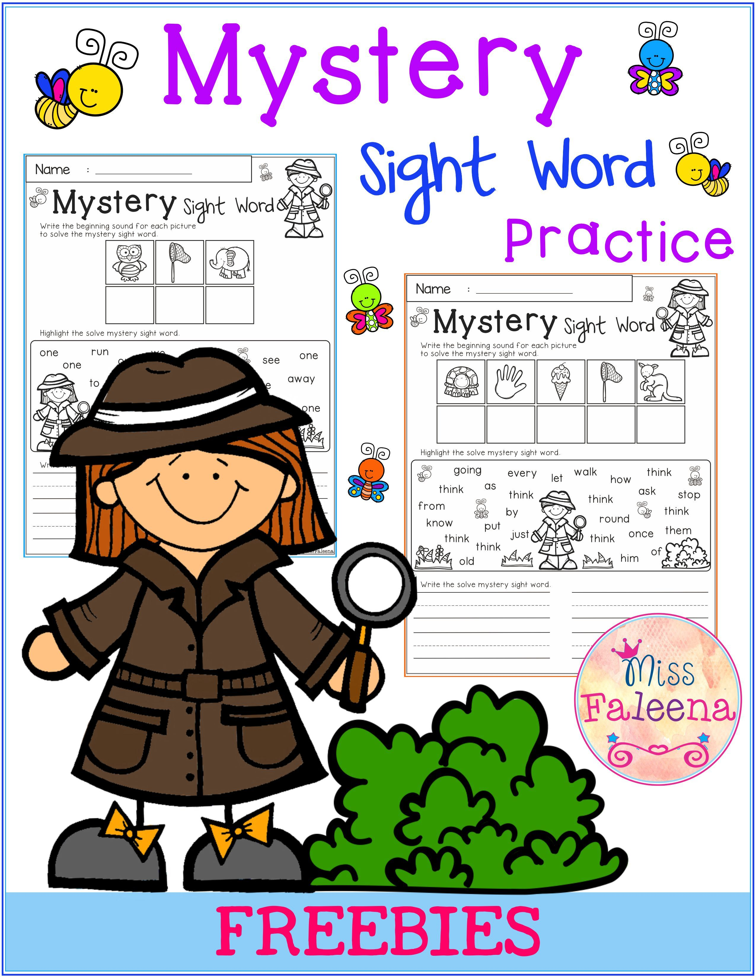 Free Mystery Sight Word Practice With Images