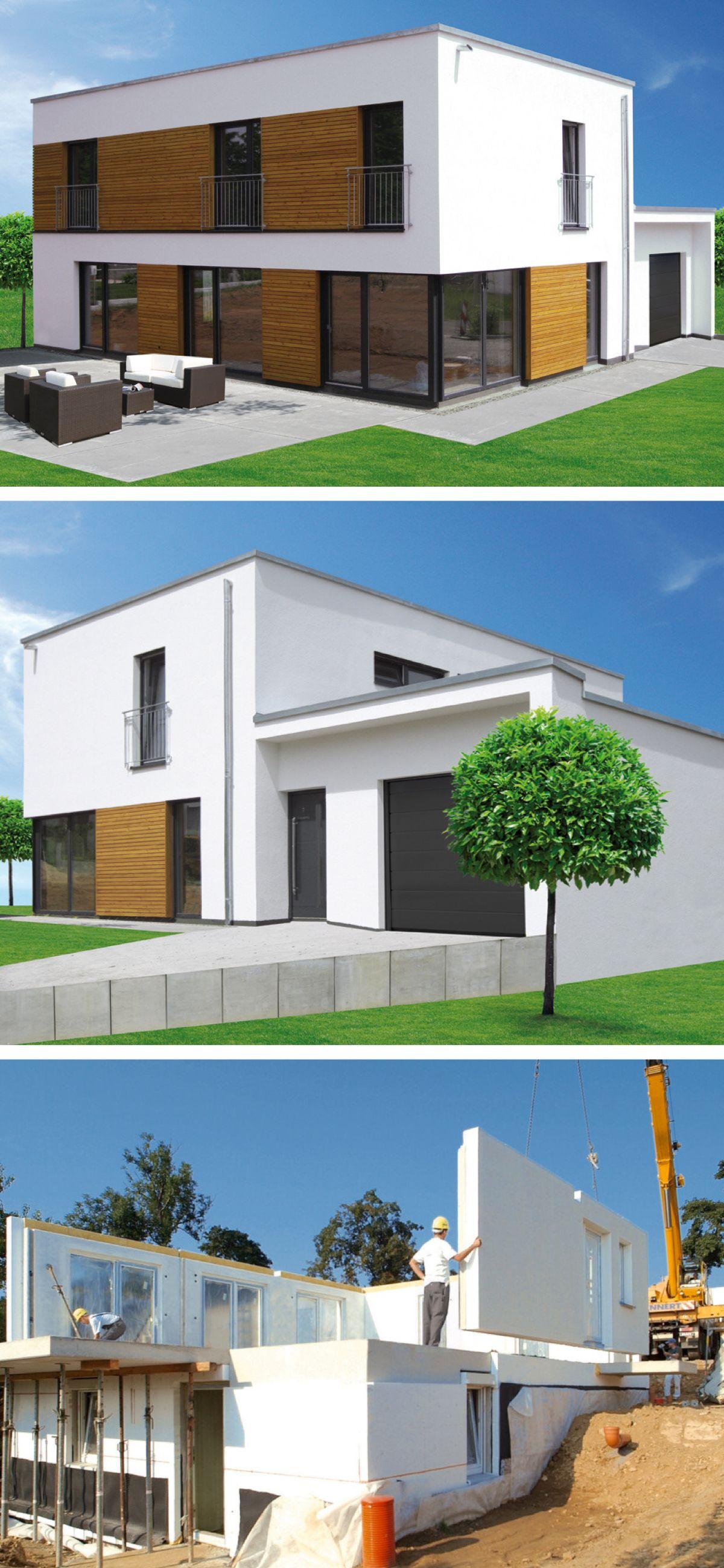 Stadtvilla modern im Bauhausstil mit Flachdach Architektur & Garage ...