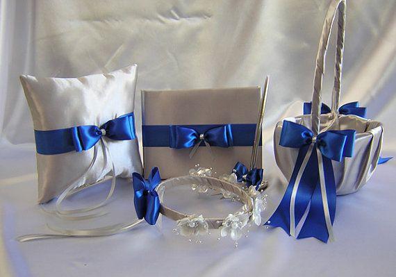 Pretty Idea To Possibly Try Making Myself Wedding Silver Royal Blue Flower Basket By Weddingsbyminali