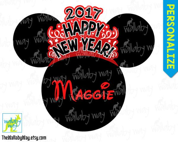 disney new years eve 2017 printable iron on transfer or use as clip art diy disney shirt happy new year personalize minnie head red by thewallabyway on