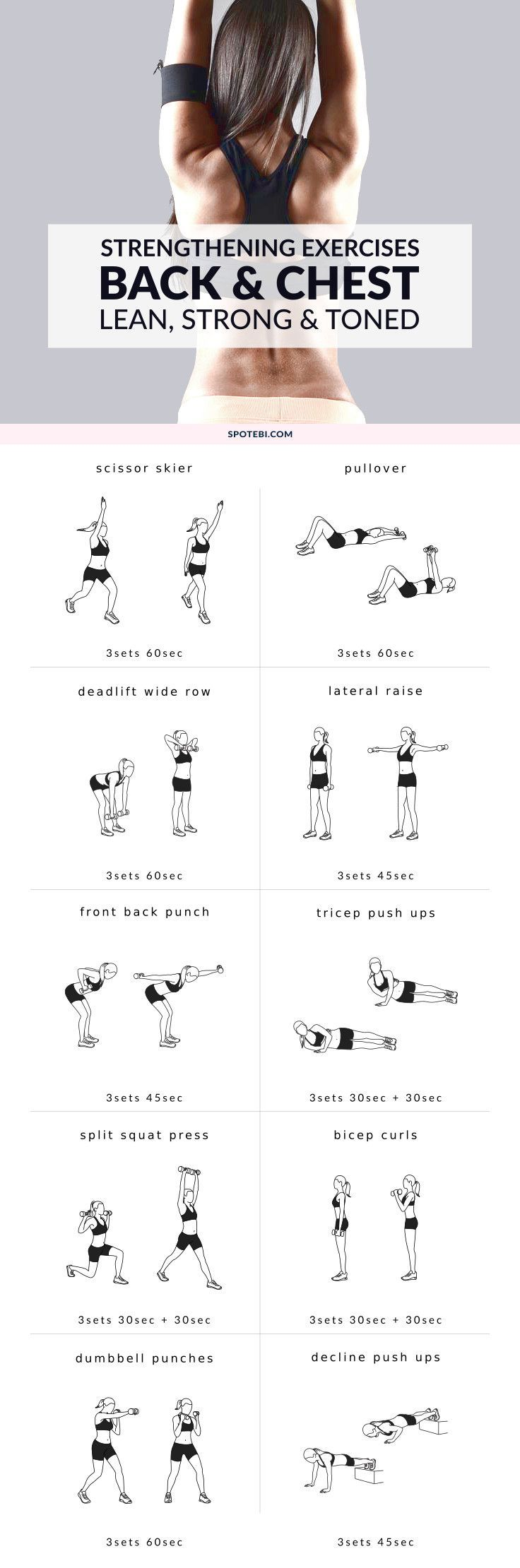 Lift your breasts naturally! Try these chest and back strengthening exercises for women to help tone, firm and lift your chest and improve your posture. http://www.spotebi.com/workout-routines/chest-back-strengthening-exercises-lean-strong-toned/