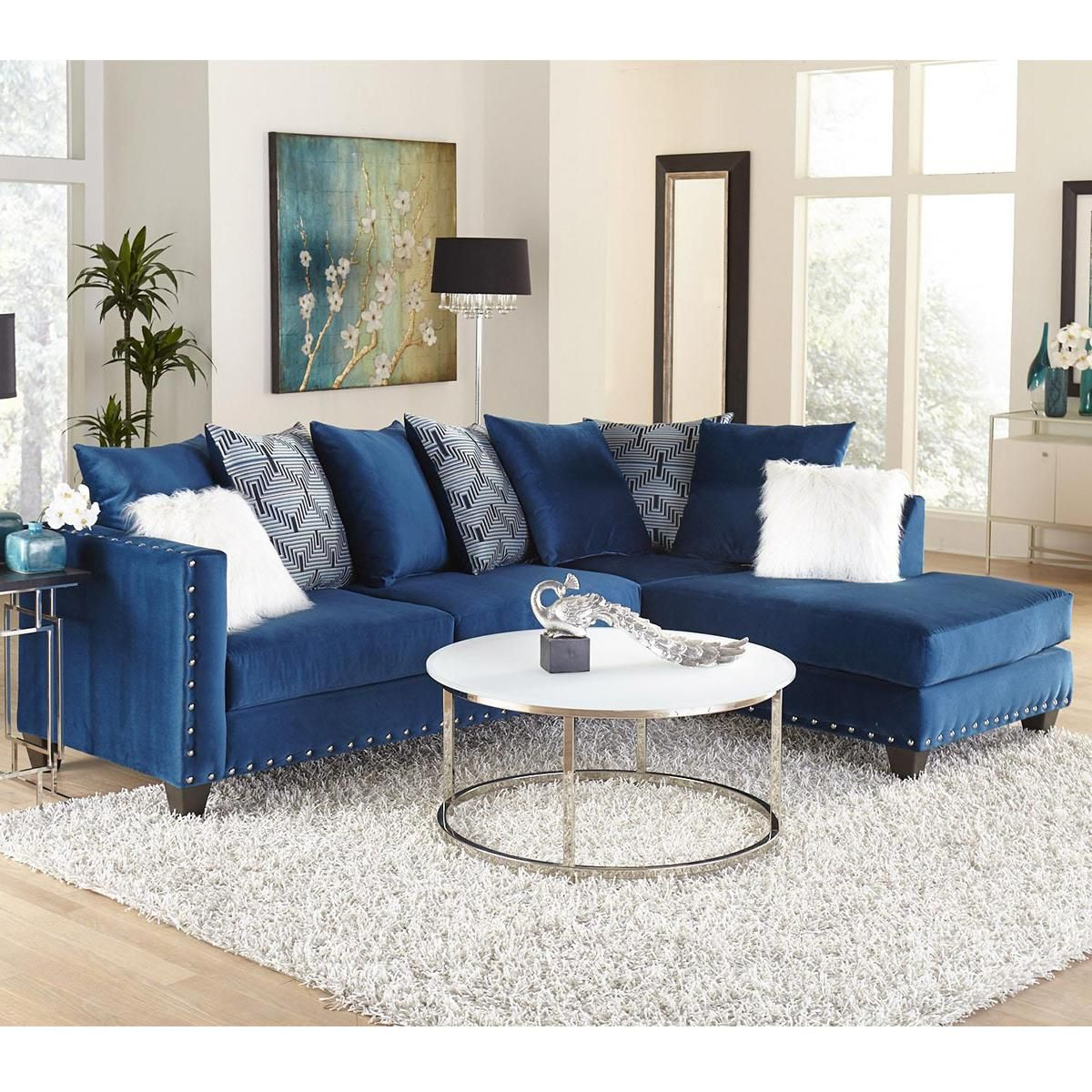 Delta 2 Piece Sectional In Melon Sapphire Nebraska Furniture Mart Couches Living Room Furniture Blue Living Room #sectional #couch #living #room
