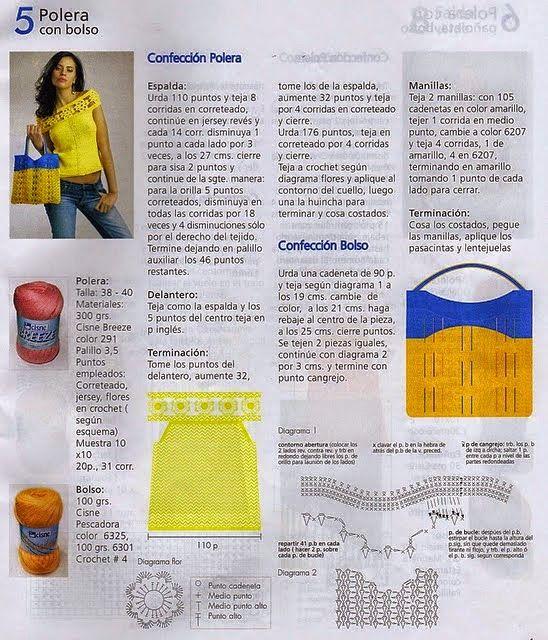 COMO HACER BLUSA AMARILLA CON BOLSO A JUEGO | Patrones Crochet ...