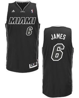 on sale f323c 6e911 adidas Miami HEAT LeBron James Adult Swingman Jersey Black ...