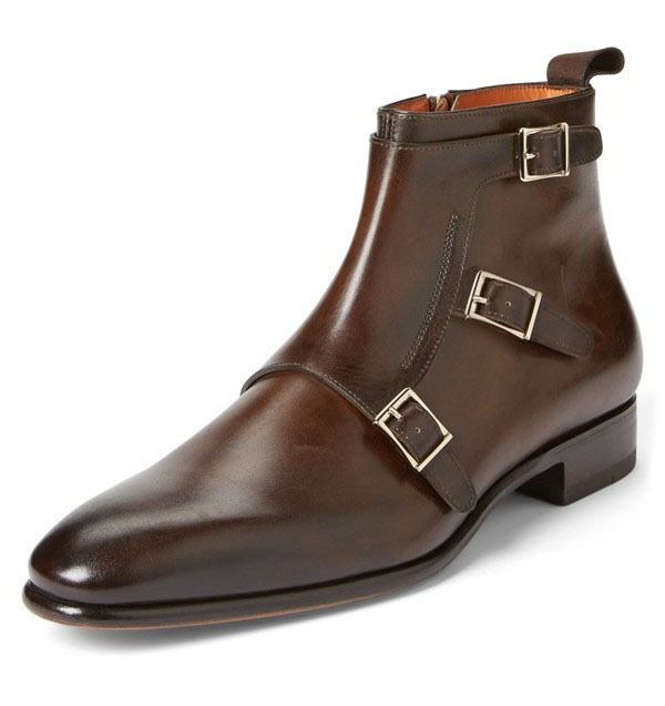 2c447c0c67a Handmade Men's Brown Triple Monk Leather boot, Mens Buckle Strap Ankle High  boot