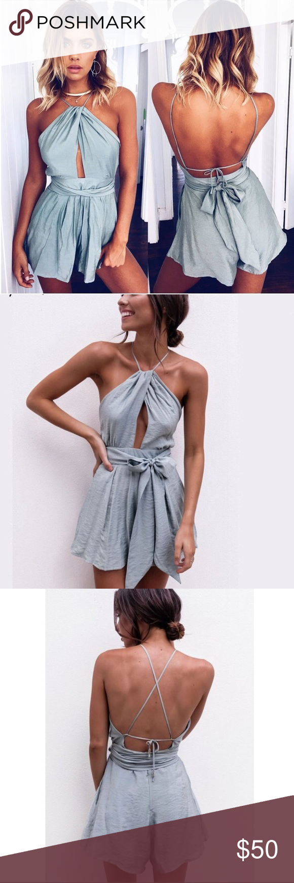 ee4ea539f5b3 SALE❗️Blue Sexy Romper JUST IN! Only one medium available. Super adorable casual  camis playsuit cut out sexy bodysuit women shorts boho jumpsuit vestido ...