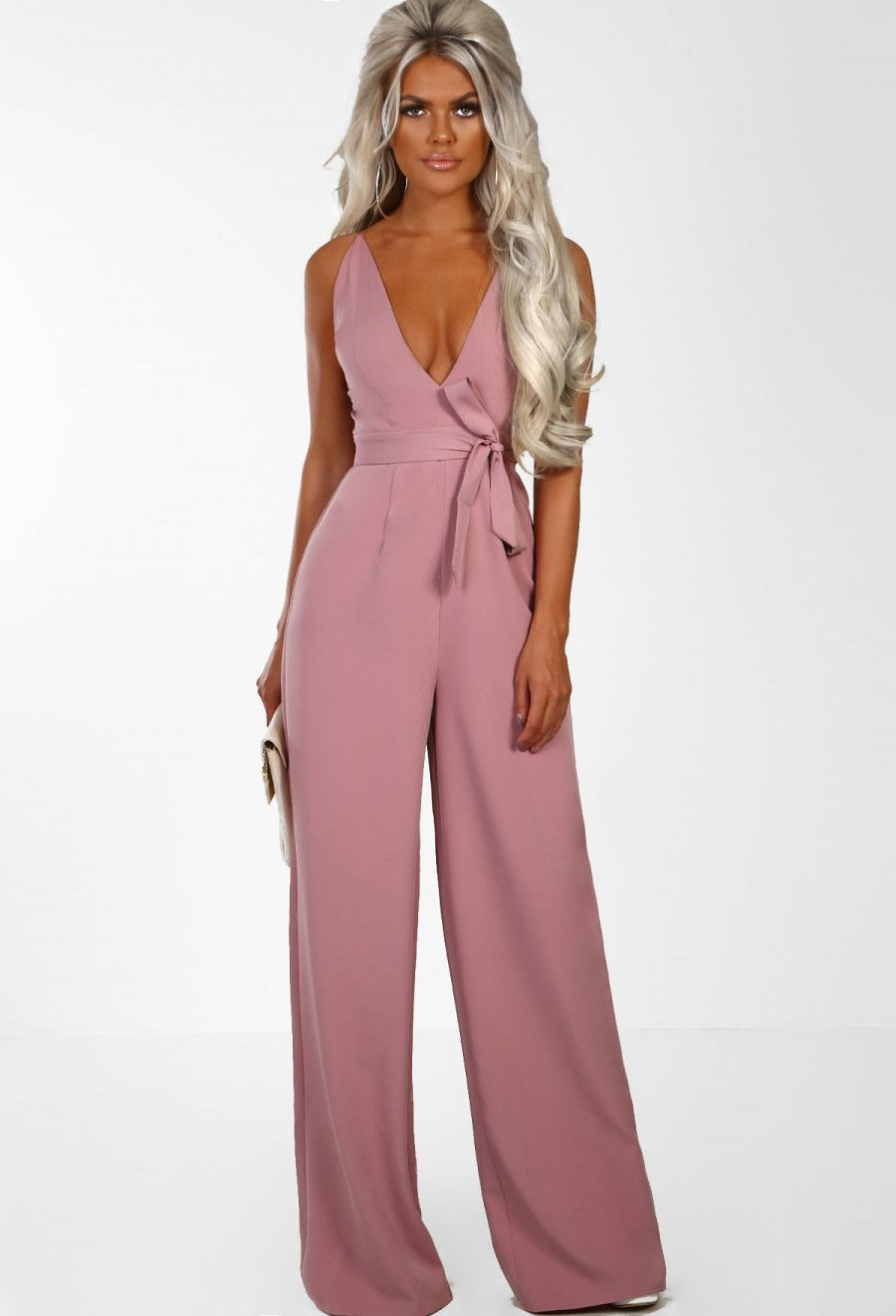 aa291da0351 Visions Of Love Blush Pink Plunge Wide Leg Jumpsuit - 6