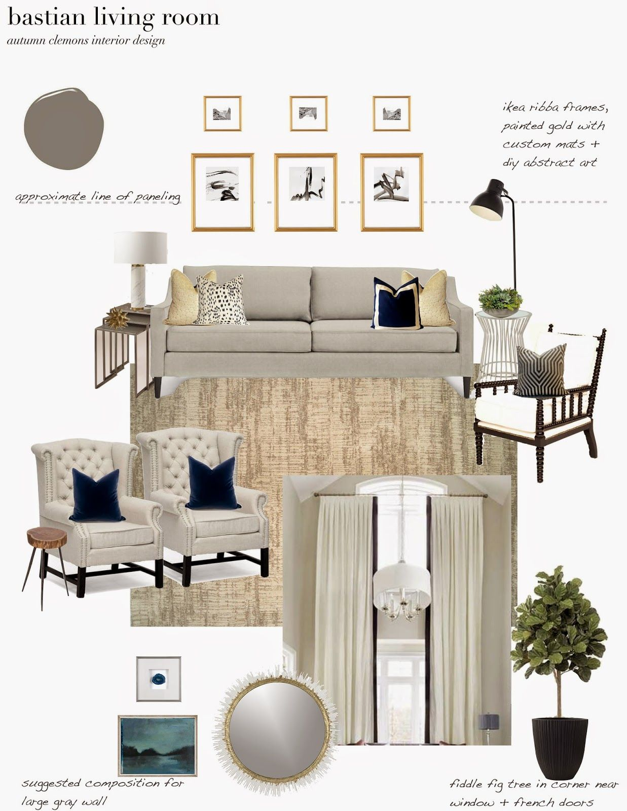 E Design Plan For A Dramatic Neutral Living Room Trimmed Drapes Fiddle Fig Tree Neutral Rug Neutral Living Room Living Room Rugs Ikea Trendy Living Rooms E design living room