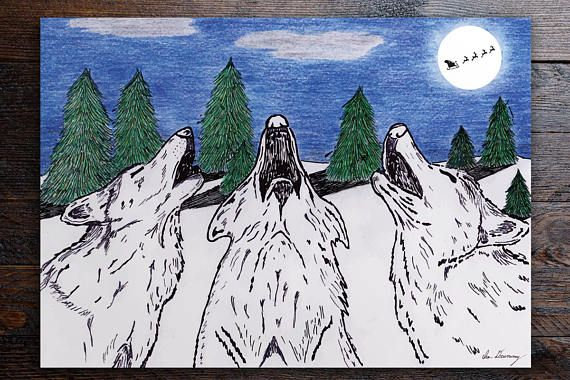 Boxed Christmas Cards / Bestselling / Howling Wolves / Single