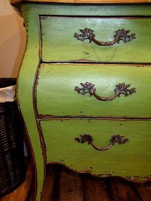 Restoration Furniture Green Apple Dresser  Paint  Pinterest