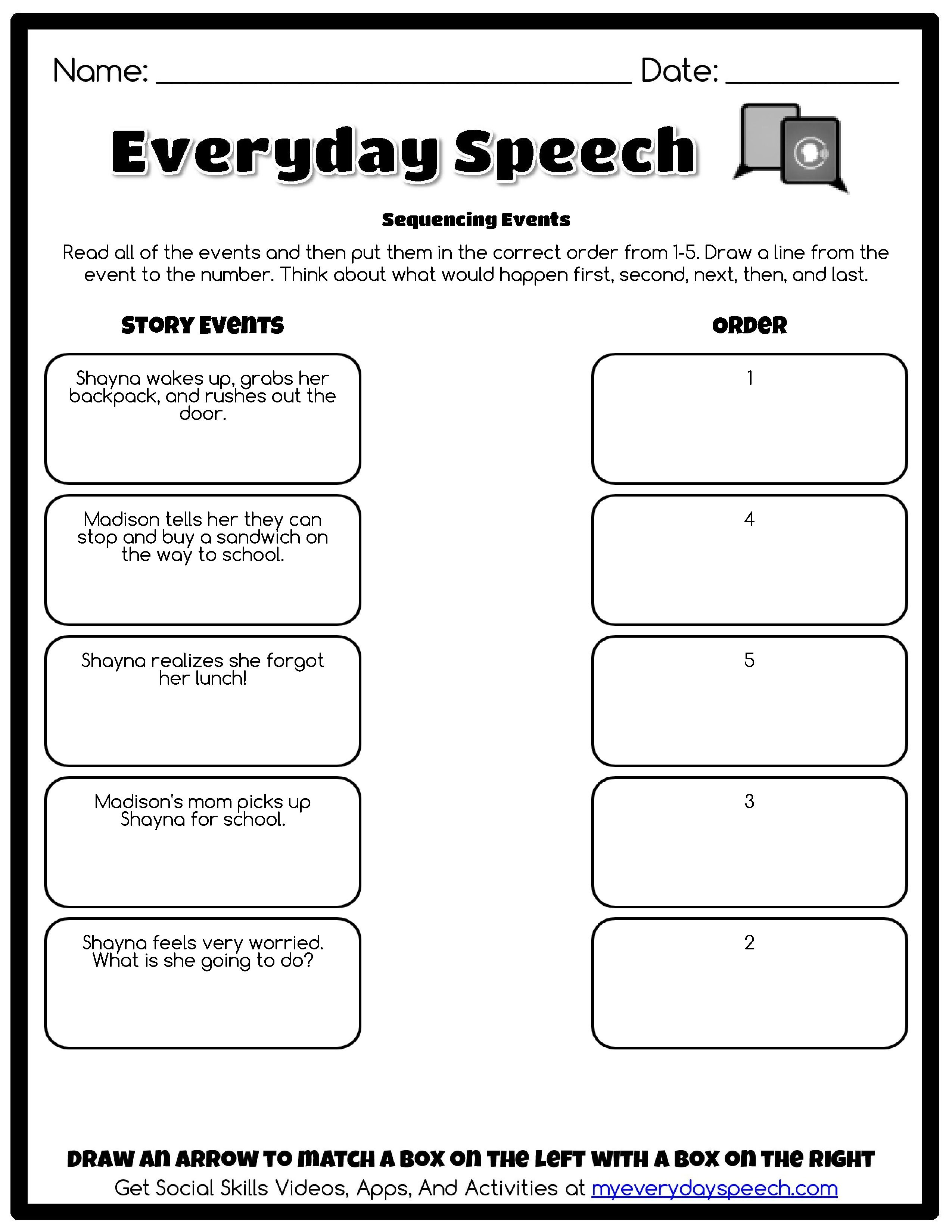 Sequencing Events Everyday Speech Perspective Taking Social Skills Social Skills Activities