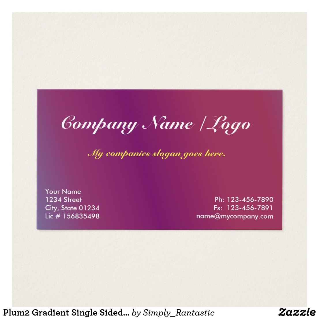plum2 gradient single sided business card template cards sided