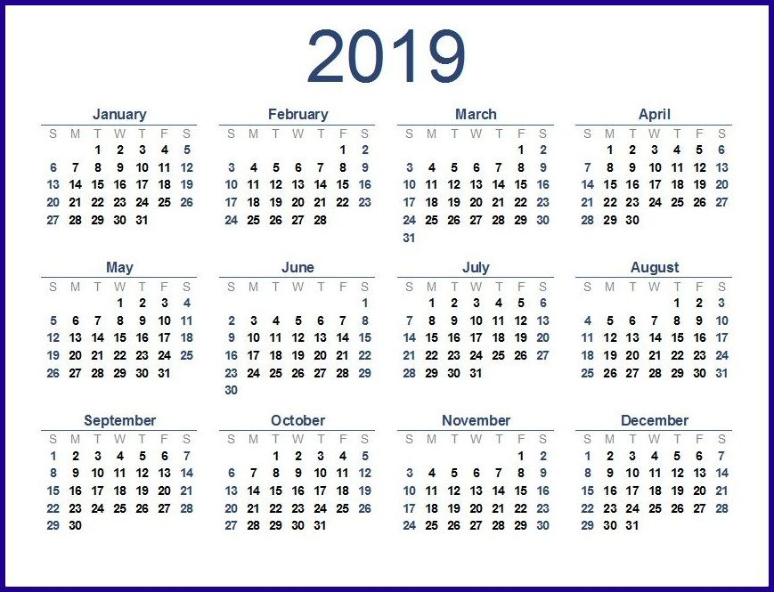2019 Calendar Template Word 2019 Calendar Template in One pages