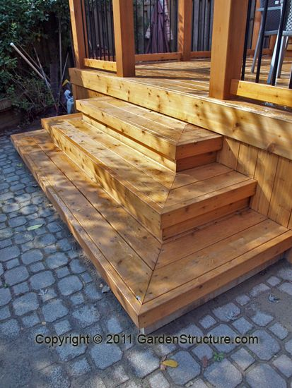 Wide deck stair designs canopy system there is still a for Box steps deck