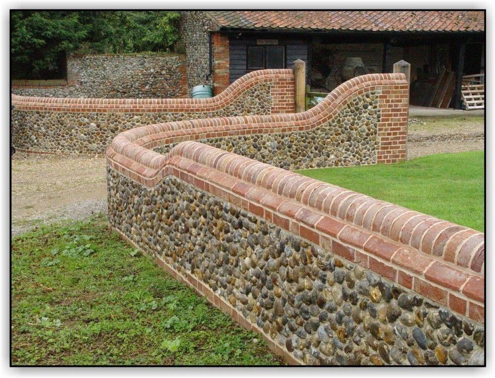 Brickwork and Flint Panel Walls | Brick wall gardens ...