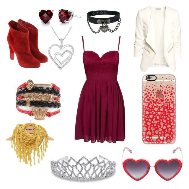 """""""Queen of hearts"""" by artisticmoose13 on Polyvore featuring Elise Ryan, H&M, Augustine Jewels, Casetify, Markus Lupfer, Bling Jewelry, BKE and Christian Louboutin"""