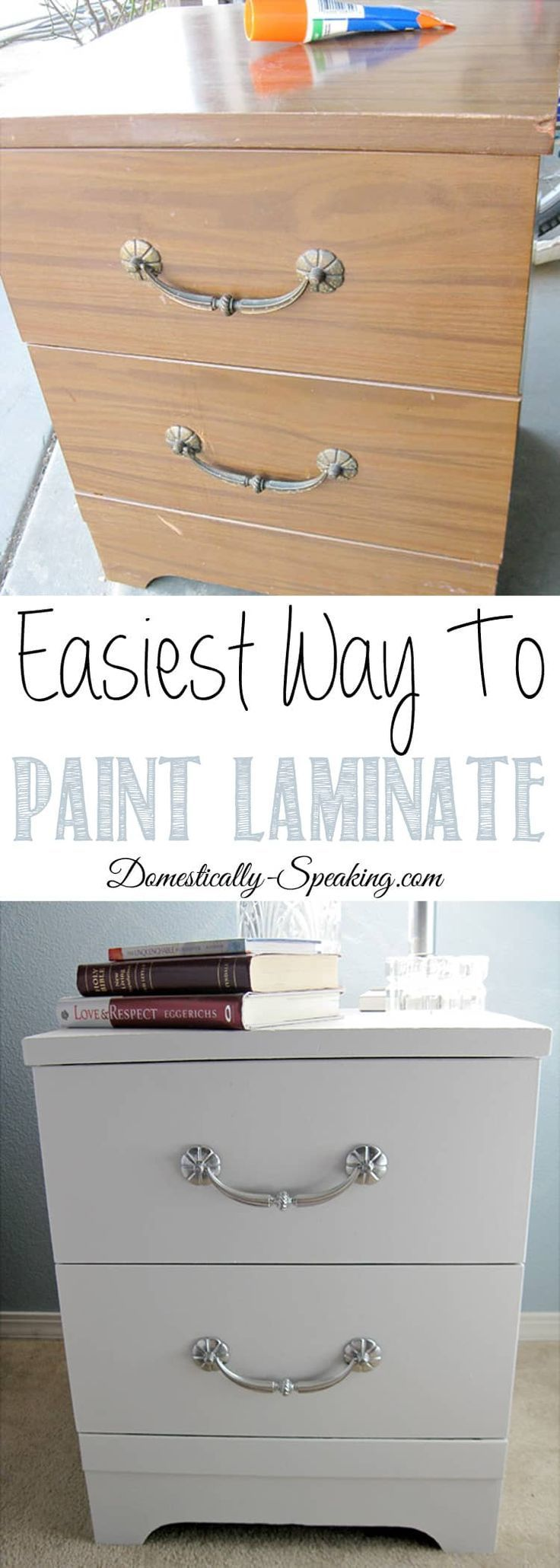 How to Paint Laminate Nightstands is part of Painting laminate, Laminate furniture, Painting laminate furniture, Redo furniture, Refinishing furniture, Refurbished furniture - Tutorial on how to paint laminate furniture  Shares how to paint ugly laminate nightstands easily