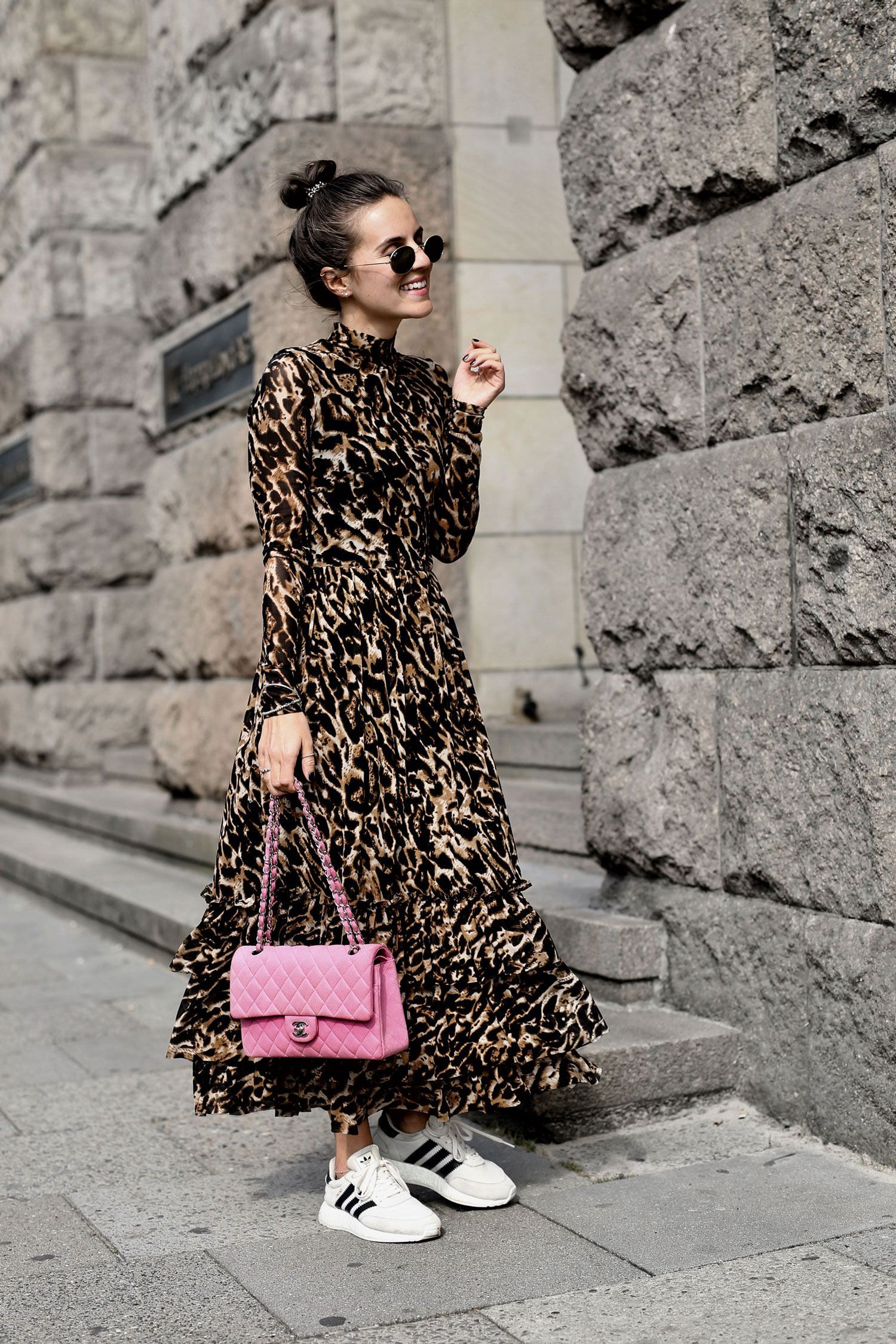 Streetstyle  Leo Dress And Pink Chanel  Shoppisticated Streetstyle  Leo Dress And Pink Chanel  Shoppisticated