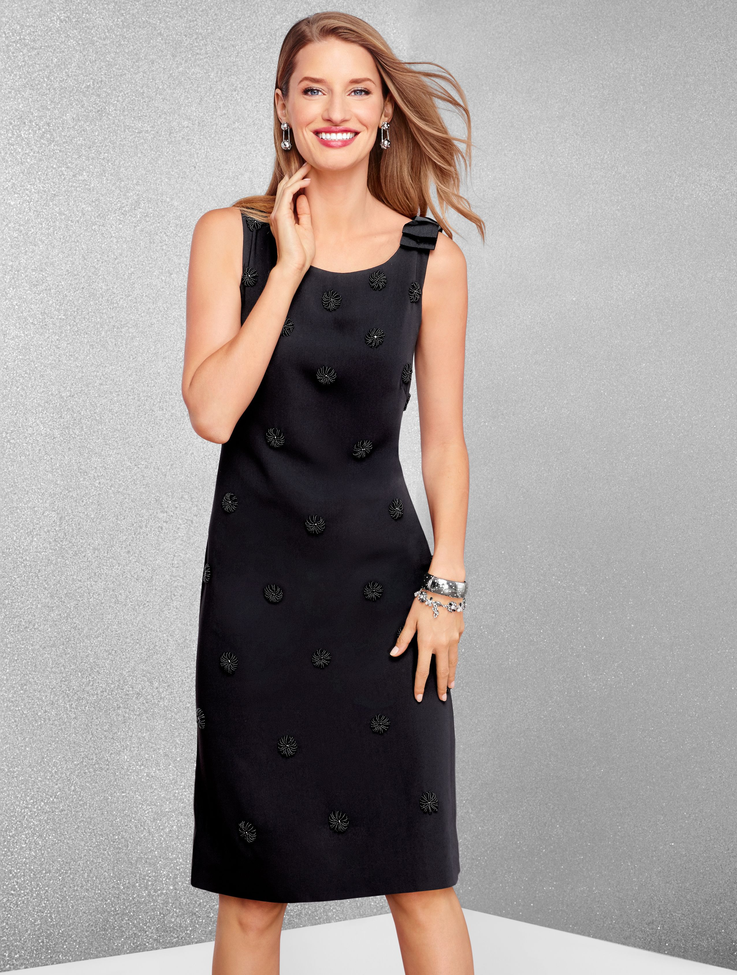 The Little Black Dress Gets A Sparkling Show Stopping Update Beaded Embroidered Flowers Bloom On A Field Of Flawles Talbots Fashion Clothes Clothes For Women [ 3376 x 2552 Pixel ]