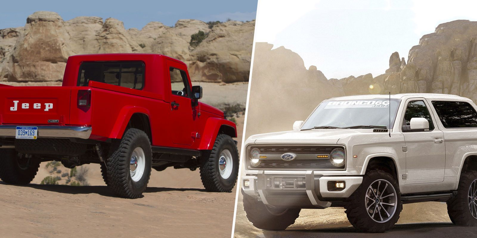 2017 Jeep Wrangler Pickup Vs 2020 Ford Bronco Which Daydream 4x4
