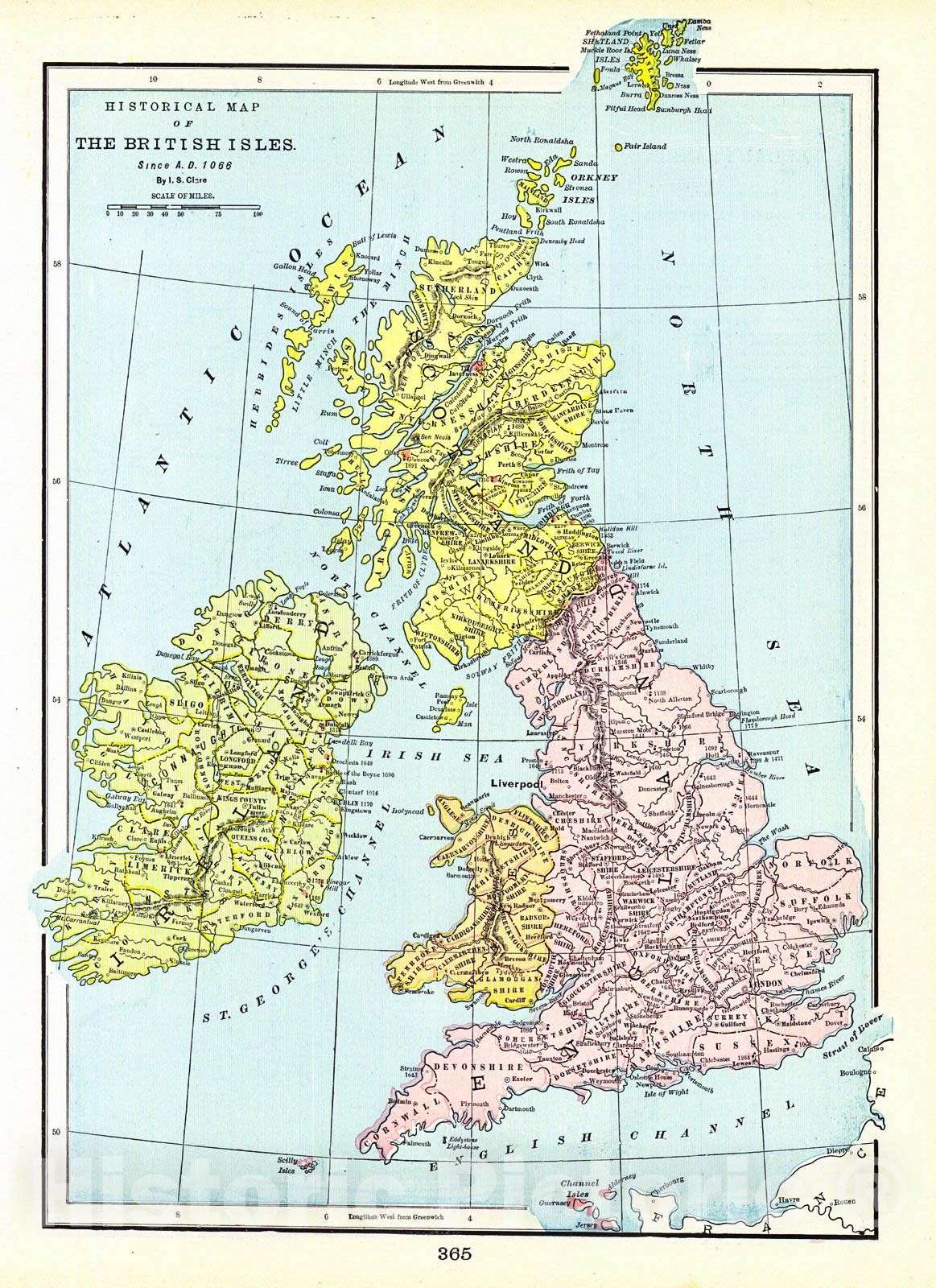 <p>Vintage Map | 1898 Historical Map of the British Isles since A.D. 1066 | Cram, George F.</p>