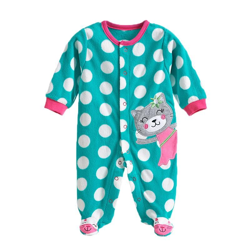 216955a4ae77 0-12M Autumn Fleece Baby Rompers Cute Pink Baby Girl Boy Clothing Infant  Baby Girl Clothes Jumpsuits Footed Coverall V20C
