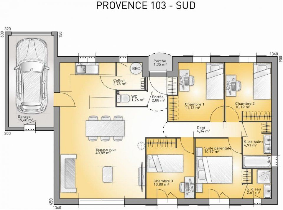 Plan maison neuve à construire - Maisons France Confort Provence 103 - maison france confort brignoles