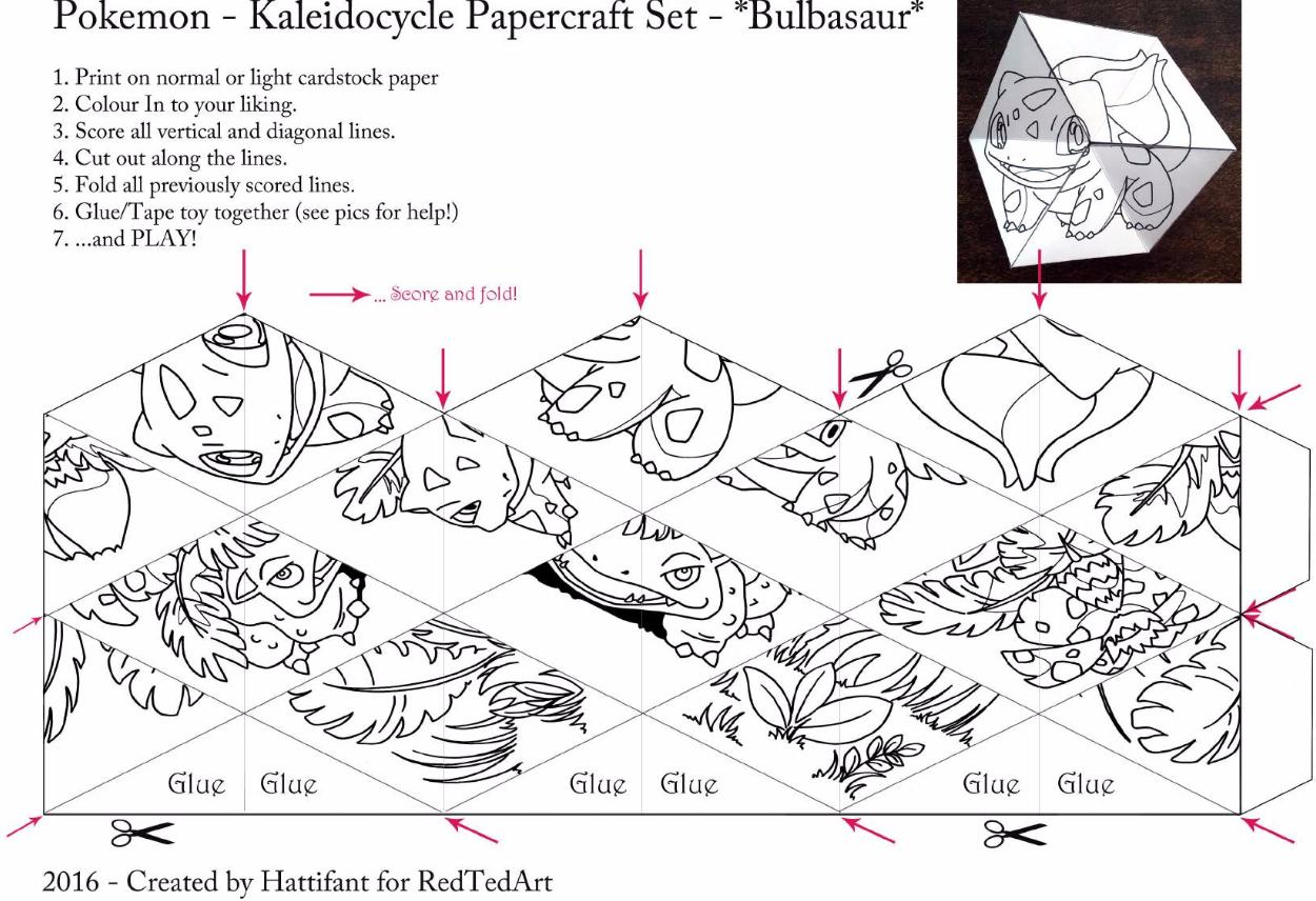 Make A Pokemon Kaleidocycle Folding Paper My Pokemon Go Blog Papercraft Pokemon Make A Pokemon Pokemon