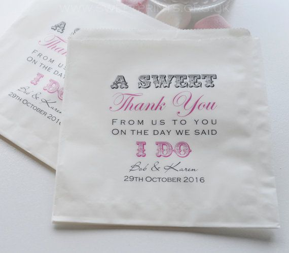 100 X Personalised Wedding Sweet Sweetie Candy Cart Favour